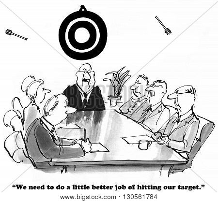 Business cartoon about consistently missing the target.