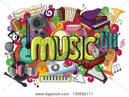 vector illustration of doodle on Music concept