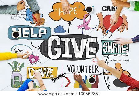 Give Help Donate Welfare Charity Donate Concept