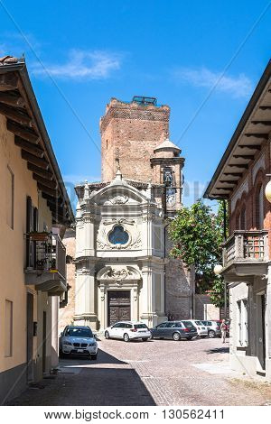 Barbaresco,Italy,Europe - May 3, 2016 : The San Giovanni Battista Church and the rectangular tower in background