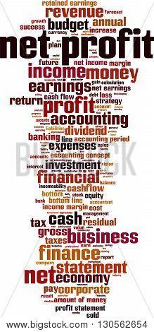 Net profit word cloud concept. Vector illustration