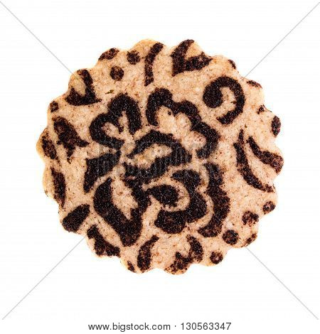 Chocolate biscuit isolated on white top view