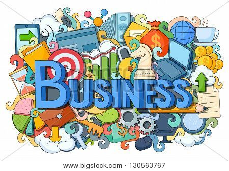 vector illustration of doodle on Business concept