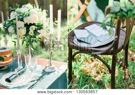 Set of collage photos of rustic style wedding in the green forest.