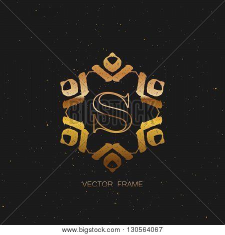 vector floral golden monogram. art-deco golden frame. golden monogram frame. art-deco line art element for design