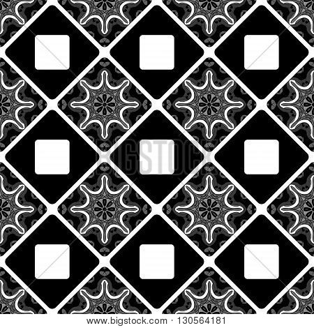 Seamless pattern. Vintage decorative tile with ethnic Arabic, Indian, Islamic, ottoman motifs. Vector illustration, can be used for print design, fabric textile, wrapping paper, ceramic tile design.