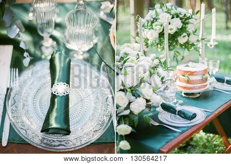 Collage photos of  wedding table setting in rustic style.