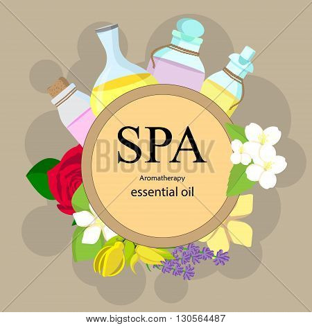 the concept of aromatherapy and spa with bottles of essential oils and flowers - rose orange jasmine ylang ylang lavender vanilla