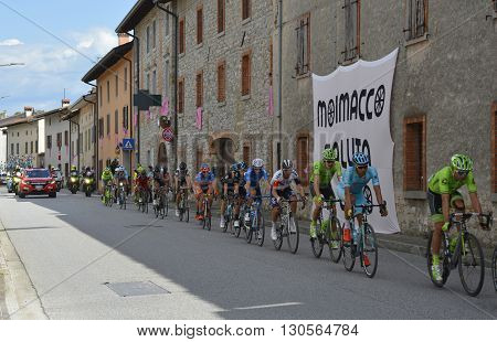 Moimacco Italy - May 20th 2016. The 2016 Giro d'Italia passes through the village of Moimacco in Friuli Venezia Giulia for the first time in 40 years. This is stage 13.