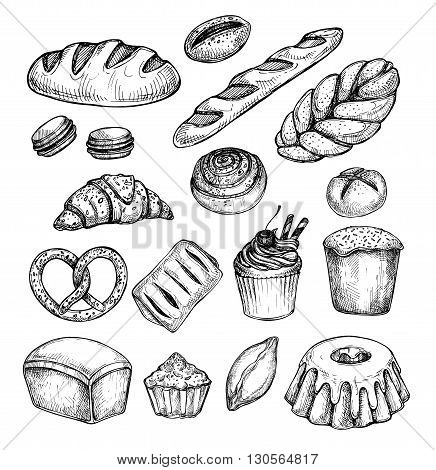 Hand drawn vector illustration - Set with sweet and dessert (croissant cupcakes pretzels donut cake cheesecake macaroon baguette bread pie).