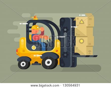 Storekeeper loader flat design. Cargo transportation to warehouse, industry freight and distribution. Vector illustration
