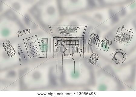 User Filing His Tax Retun Online