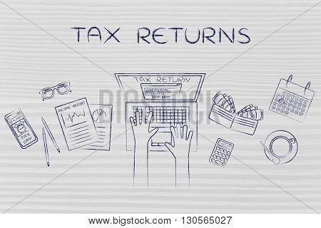 User Filing His Income Tax Data Online, Caption Tax Returns