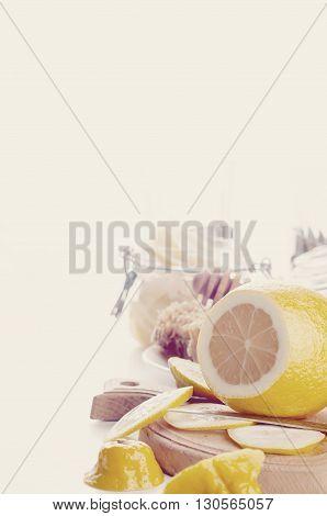 Honey, lemon and ginger tonic and ingridients  .Toned photo