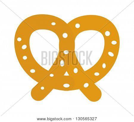 Soft pretzel isolated vector icon.