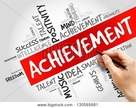 Achievement word cloud business concept, presentation background