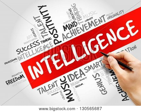 Intelligence word cloud business concept, presentation background
