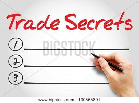 Trade Secrets Blank List