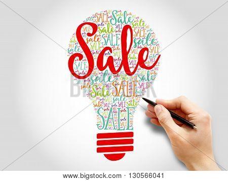 Sale bulb word cloud business concept, presentation background
