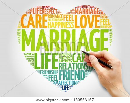 Marriage concept heart word cloud, presentation background