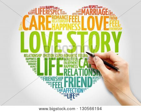 Love Story concept heart word cloud, presentation background