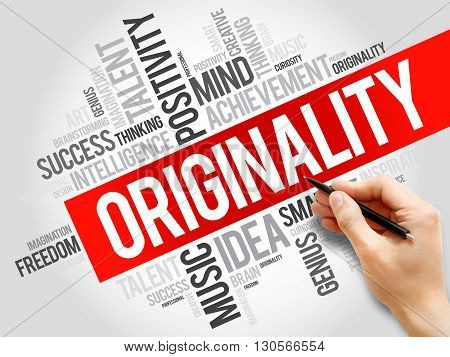 Originality word cloud business concept, presentation background