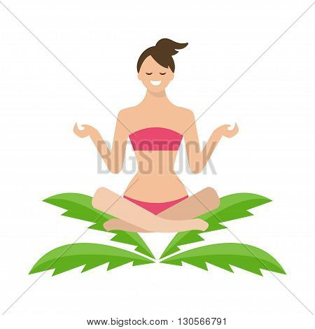 Conceptual Illustration Of A Girl In Lotus Position, Sitting On A Palm Tree. Vector