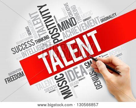 Talent word cloud business concept, presentation background