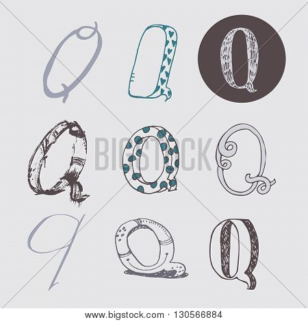 Original letters Q set isolated on light gray background. Alphabet symbols editable hand drawn creative in different variations Italic 3d freehand drawn with brush and nib vector Illustration
