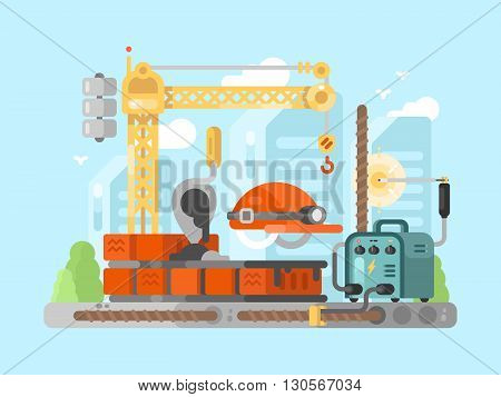 Construction site design concept. Crane and build industry, material work process, vector illustration