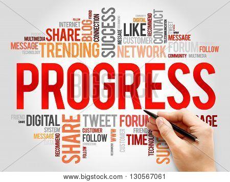 Progress word cloud business concept, presentation background
