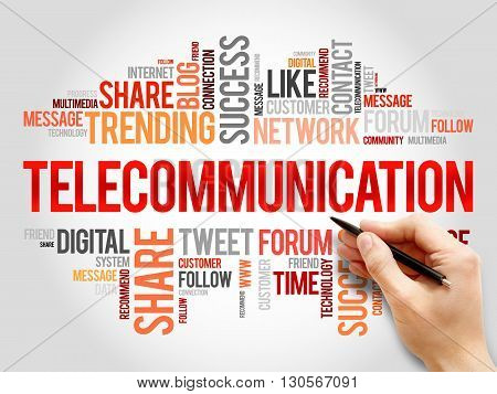 Telecommunication word cloud business concept, presentation background