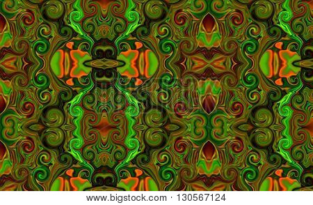 Oriental patterns - the language of the soul The picture shows the oriental patterns mainly on green and red colors.