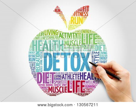 DETOX apple word cloud concept, presentation background