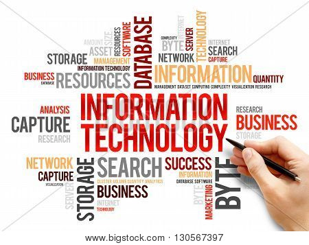 Information technology word cloud business concept, presentation background