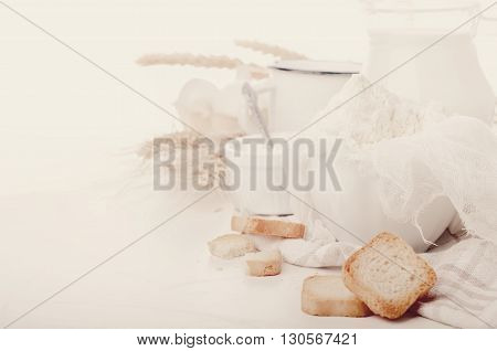 Various fresh dairy products isolated on white background .Toned photo