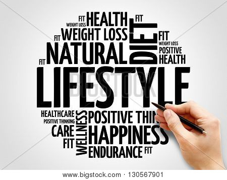 LIFESTYLE word cloud fitness sport health concept
