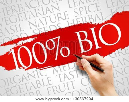 100% BIO word cloud health concept, presentation background