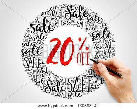 20% Off Sale Words Cloud