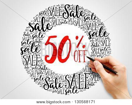 50% Off Sale Words Cloud