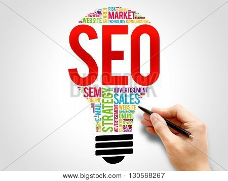 SEO (search engine optimization) bulb word cloud business concept