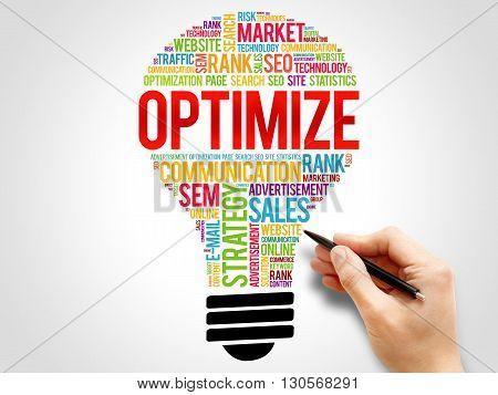 OPTIMIZE bulb word cloud business concept, presentation background