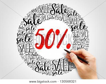 50 Percent Sale Words Cloud
