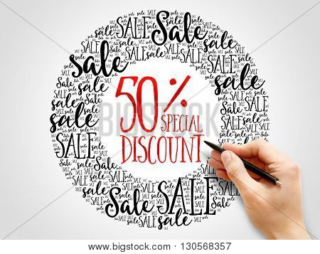 50% Special Discount Sale Words Cloud