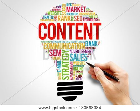 CONTENT bulb word cloud business concept, presentation background