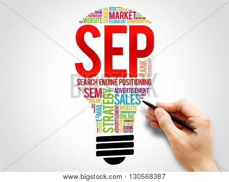 SEP (search engine positioning) bulb word cloud business concept