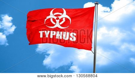 Typhus concept background, 3D rendering, a red waving flag
