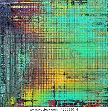 Vintage texture, old style frame decoration with grunge graphic elements and different color patterns: yellow (beige); green; blue; red (orange); purple (violet); cyan