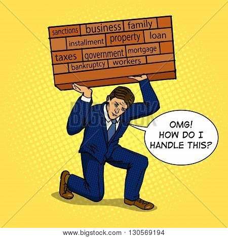 Businessman holding a heavy load. Cartoon pop art vector illustration. Human comic book vintage retro style.