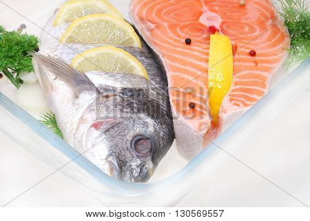 salmon fish defrosting in restaurant in plate